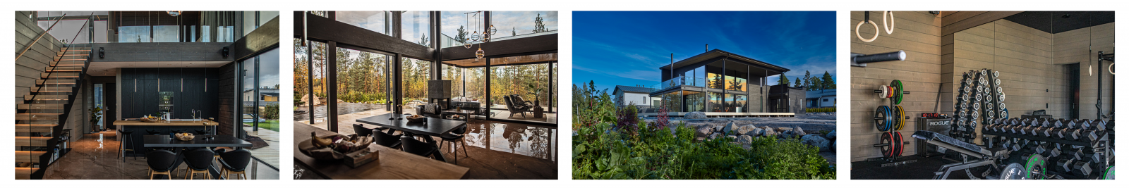 This image shows a few rooms and the exterior of our project of the month August 2021.
